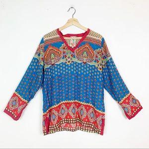 JOHNNY WAS 100% Silk Boho Pattern Flowy Tunic M